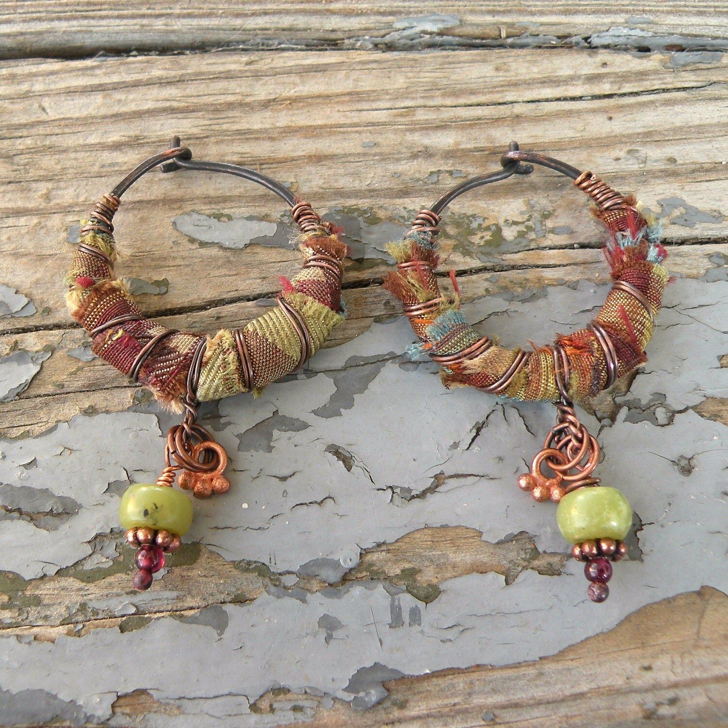 Silk Road Gypsy Hoop Earrings Plaid Silk And Copper Wrapped