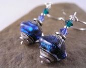 Blue Green Lampwork Glass Earrings, Artisan Lampwork Earrings, Crystal Shaped Iridescent Lampwork Earrings, Gift