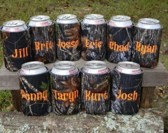 1 personalized mossy oak can cozy.  You choose thread color.