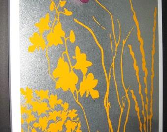 Orange Twigs.. Dry Erase Magnetic Steel Memo Board  / Housewarming Gift / Office Decor / Organization / Desk / Message Board / Memo