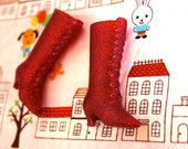 Blythe Red with Red glitter Witchy Boots - Doll Shoes