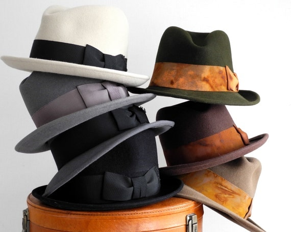 Gift for Him Men's Gift Mens Felt Fedora Hat Custom1920s Hat 1930s Hat 1940s Hat Winter Accessories Mad Men Hat Fall Fashion Great Gatsby
