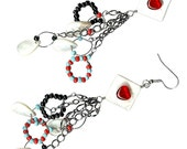 Mother-of-pearl diamond red heart long multi chain dangle earrings
