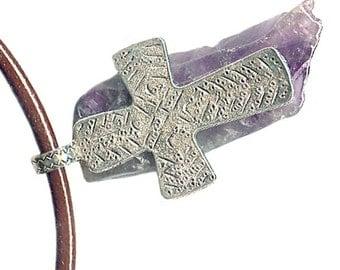 large pewter cross amethyst slice leather unisex necklace