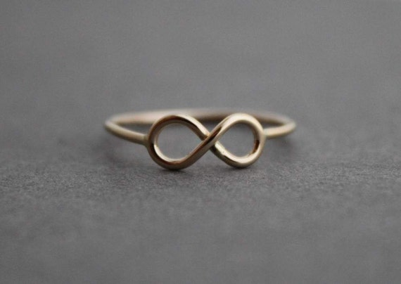 Petite Gold Infinity Ring, Custom made for you, 14K Gold Ring, Made to Order