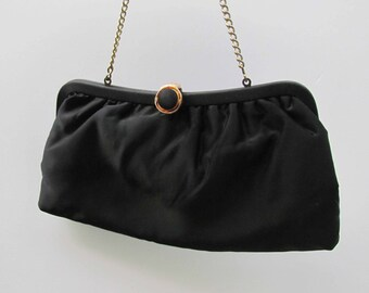 Black Vintage Purse with Gold Chain.