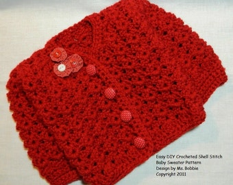 Crocheted Baby Sweater Pattern - PDF 224 - Instant Download - Step by Step Tutorial Directions & Photos