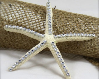 White Starfish with Crystal Accents- Beach Wedding Decor-Bridal Bouquet - christmas ornament