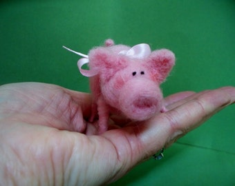 "Pink Piglet 2"" of Felted Wool Ornament"