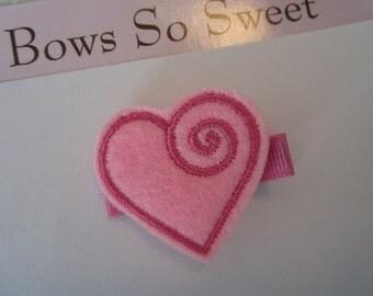 Valentine Heart Felt Hair Clip for Infant Toddler Girl...Swirled Heart Style Felt Clippie