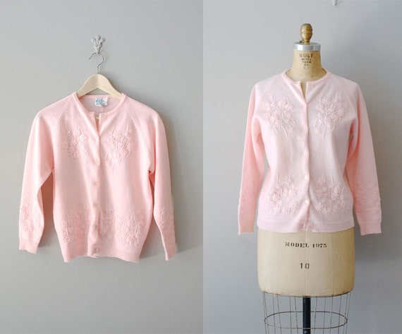 vintage 60s cardigan / 60s sweater / pink / Forget Me Not