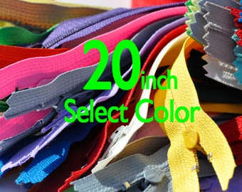 20 inch YKK Zippers Nylon Coil Skirt and Dress Closed Bottom - Each Color Ten Zippers - Select Color