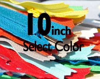 10 inch YKK Zippers Nylon Coil Skirt and Dress Closed Bottom - Each Color Ten Zippers - Select Color