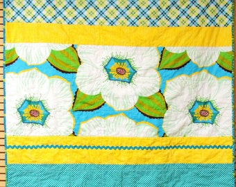 """Baby quilt- contemporary baby girl quilt with rick rack in greens, blues and yellows- """"Bloom"""" READY TO SHIP"""