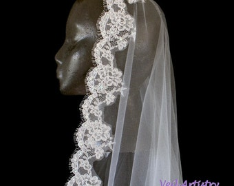 Long Wedding Veil, Cathedral Veil, Mantilla Bridal Veil, Alencon Lace Veil, Pearl Veil, Lace Veil, Made-to-Order Only, Bespoke Veil