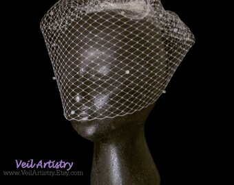 Birdcage Bridal Veil, Blusher Veil, Face Veil, French Net Veil, Crystal Veil, Vintage Inspired Veil, Made-To-Order Veil, Bespoke Veil
