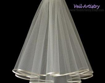 Wedding Veil, Radiance Veil, 2 Tier Wedding Veil, Shoulder Veil, First Communion Veil, Satin Ribbon Veil, Made To Order Veil, Handmade Veil
