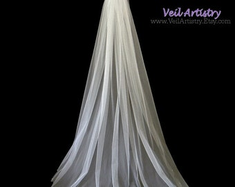 Wedding Veil, Classic Veil, Pearl Beaded Veil, Scalloped Edge Veil, Sweep Veil, White Veil, Veil with Pearl Headpiece, Ready to Wear Veil