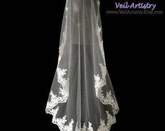 Short Wedding Veil, Mantilla, Bridal Mantilla, Fingertip Veil, Re-embroidered Lace Veil, Lace Mantilla, Made-to-Order Veil, Bespoke Veil