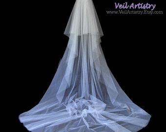 Bridal Veil, Radiance Veil, Royal Cathedral Veil, 2 Tier Wedding Veil, Cut Edge Veil, Made-to-Order Veil, Handmade Veil