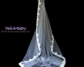 Bridal Veil, Chapel Veil, Mantilla Bridal Veil, Mantilla, Alencon Lace Veil, Made-to-Order Veil, Custom Veil