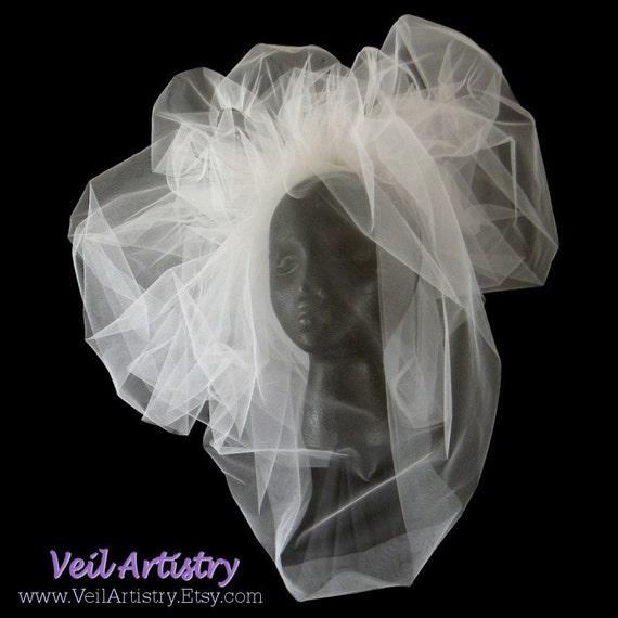 Bridal Veil, Asymmetric Pouf Blusher Veil, Pouf Veil, Blusher Veil, Diamond White Veil, Ready-to-Go Veil