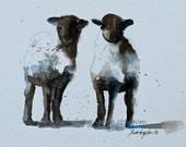 baby girl Nursery Art PRINT girl Sheep Print Nursery artwork Children wall art print Shabby Chic animal painting 8x10 white black brown lamb