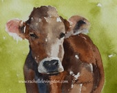 for him fathers day gift Brown Cow PRINT folk art painting folk art watercolor cow painting animal painting watercolor painting decor 11x14
