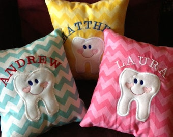 Tooth Fairy Pillow  -Chevron fabric - Personalized with Child's name, Pocket sewn on the back of the pillow
