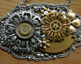 Bullseye Blossom Steampunk Statement Necklace - Steel