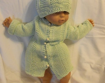 Baby Sweater Hat Set, Spring Green, 100 Percent Cotton