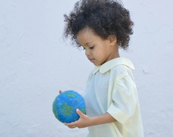 She's Got the Whole World In Her Hands Wool Toy - Eco Friendly Earth Ball - Baby Toddler Globe Ball in Blue and Green - Felted Waldorf Toy