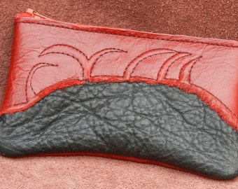 """Handmade Leather Zipper Wallet / Coin Change Purse, Red raggedy cowhide and Black Buffalo Hide  with a Zipper 3.5"""" x 6"""""""