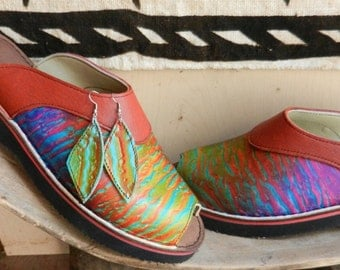 Handmade Leather Clogs with peep toes and matching ear rings. - Colorful Airbrushed, Custom Made or Size 5, 6, 7, 8, 9, 10
