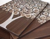 Brown Tree Painting - Original Art on Canvas Triptych - Medium 35x14