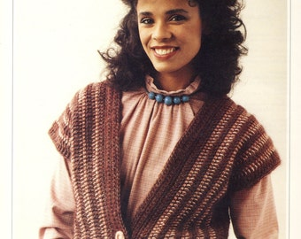 Crochet Patchwork Pattern for Reversible Top/Waistcoat -  1980s Original knitting pattern
