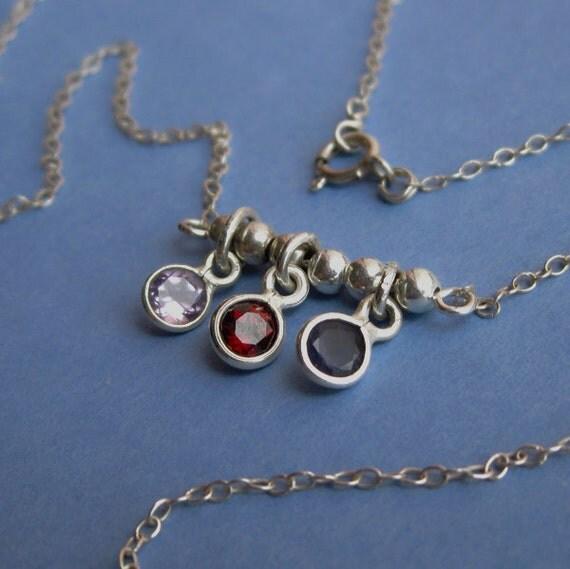 Sterling Silver Bezel Set Iolite, Garnet and Amethyst Gemstone Necklace