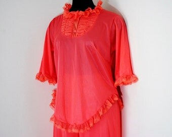 Coral Orange 2 Piece Lingerie Vintage 60s Pajama Party Ruffles