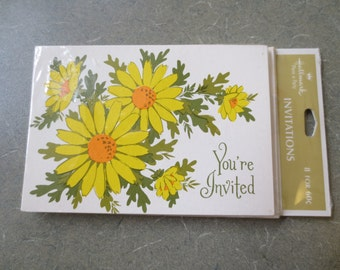 Vintage Invitations, Flower Invitations, Party Invitations, Yellow Daisies, All Occasion, 3 Packages, Party Supply, Hallmark Invites, NOS