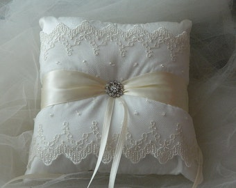 Wedding Ring Bearer Pillow Wedding Ivory Satin Ringbearer Pillow