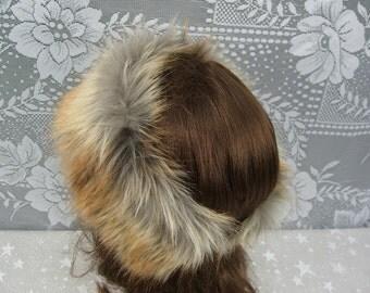 Women's Faux Fur HEADBAND, Fur Headwrap, Ear Warmer, Head Warmer, Fox Gold Tip Fur Headband