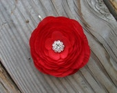 Small Red Ranunculus Flower Hair Pin Bridal Fascinator Clip Little Mother of the Bride Brooch Pin Back Silver Rhinestone Bobby Pins