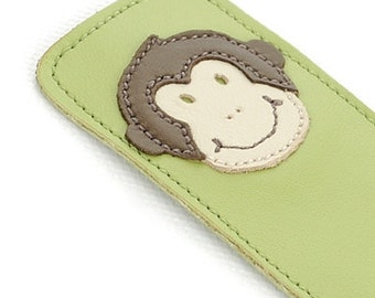 Leather Bookmark with Monkey Design, Lime Green