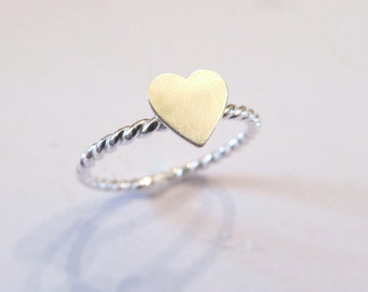 Stacking Heart Ring - Sterling Silver Heart Ring - Stackable Heart Ring