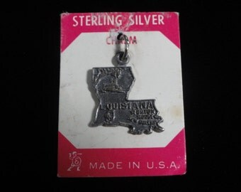 Louisiana State Map Sterling Silver Vintage Charm Pendant- on Card- Louisiana Map- Louisiana Charm- Sterling Charm