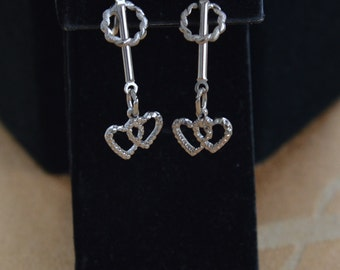 Cute Vintage Heart Dangle Earrings, Silver tone