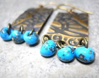 Turquoise Butterfly Wing Embossed Earrings, Lampwork Glass Drops, Rectangles, Rustic Earrings, OOAK, Organic Fashion
