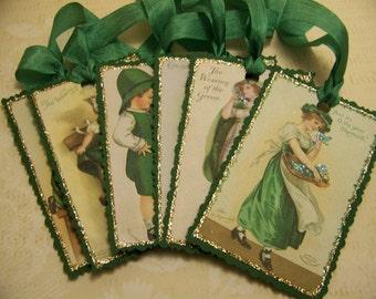 St. Patrick's Day Tags Ellen Clapsaddle Tags Set 2 - Vintage Style - Set of 6