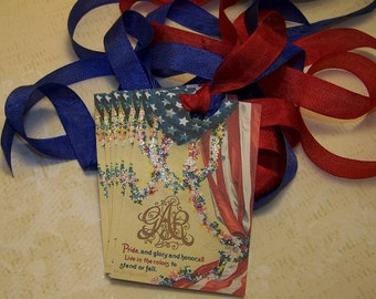 4th of July Tags Patriotic Tags Americana Tags - Vintage Style - Set of 6