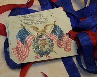 4th of July Tags Americana Tags Patriotic Tags American Flag Tags - Vintage Style - Set of 6